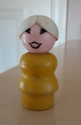 Vintage Fisher Price little people yellow wood woman/mom white hair bun
