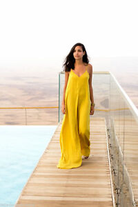 ZARA YELLOW SILKY JUMPSUIT
