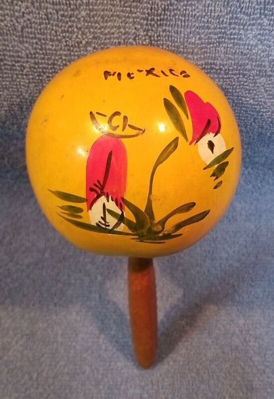 VINTAGE MEXICAN MARACA WITH PAINTED MEXICAN SCENE ON IT MADE IN MEXICO