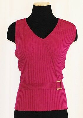VTG 80s Fitted Belt Accent Stretch Rib Fuschia BoHo Tank Sweater Pullover Size S