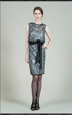 Tadashi Shoji Silver Pailete Embroidered Lace Blouson Dress (size 8)