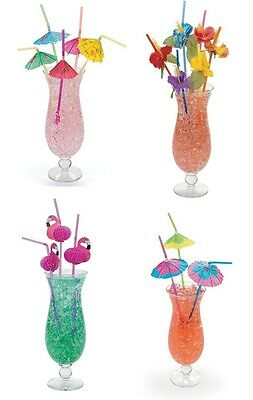 4 Dozen Assorted Tropical Drinking Straws Luau Wedding Hawaiian Umbrella Flower