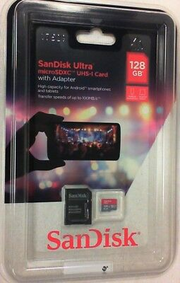 NEW SanDisk Ultra microSDXC UHS-I Card with Adapter 128GB 100MB/s