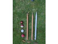 Cricket stumps/bales and 4 balls