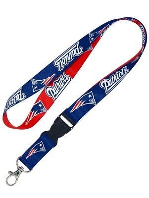 New England Patriots Double-Sided Lanyard Keychain Detachable Clip Red Blue NFL (Patriots Keychain)