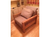 Solid oak single futon sofa bed/armchair by Futon Company, great condition