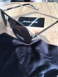 Metallic black aviator style police sunglasses