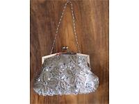 Beaded silver wedding bag vintage style