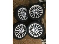 "16"" 4x108 Ford Fiesta Alloy Wheels Alloys With Tyres Titanium Zetec S Mk 6 7 8 D"