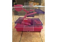 XL pink 3 floors hamster cage with assessories