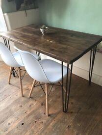Beautiful Industrial Style 1920s Hairpin Leg table dining kitchen Scandinavia danish