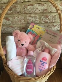 Baby shower basket gift sets Contents baby grows vests bibs Johnson baby products baby Blankets