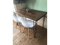 Rustic Reclaimed Industrial Wooden Hairpin Leg Dining Table