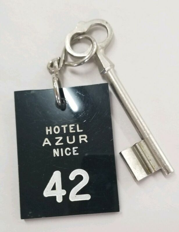 Rare & Vintage Hotel Azur, Room Key Fob, Nice, France