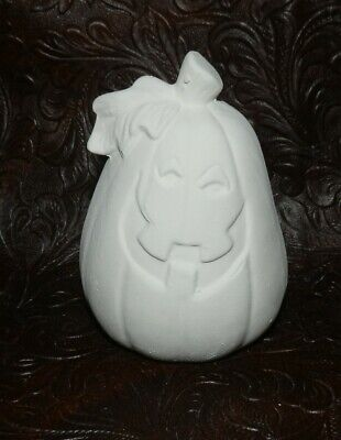 Halloween Pottery To Paint (Small Happy HALLOWEEN Pumpkin Ceramic Bisque  Ready to Paint)