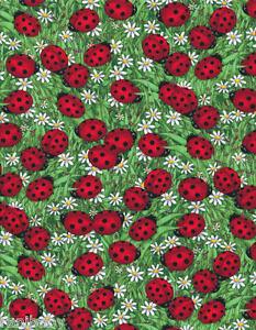19€/m 1/2 m Patchworkstoff Marienkäfer Gänseblümchen Gras Wiese Baumwollstoff