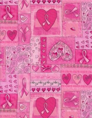 Breast Cancer Awareness Fabric - Pink Heart Ribbon Patch Timeless Treasures YARD Breast Cancer Awareness Fabric