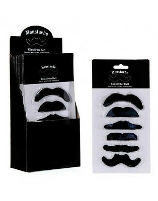 6 Pack Fake Adhesive Moustache 6 styles Party Stag Hen Do Costume Fancy (Fake 6 Pack Kostüm)