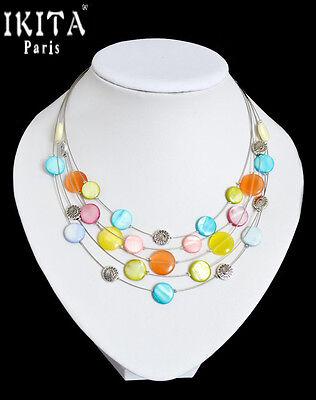 Luxus Statement Halskette IKITA Paris Kabel Kette Collier Glas Perlmutt Bunt