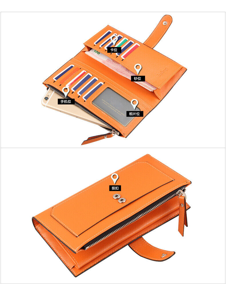 New Women's Long Leather Clutch Wallet Card Holder Cases Purse Handbags Bag US Clothing, Shoes & Accessories