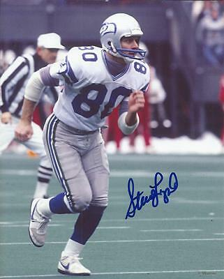 (Steve Largent Hofer Seattle Seahawks Hand Signed 8x10 Autographed Photo COA )