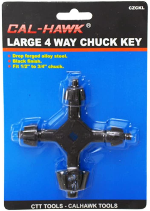 """4-Way Chuck Key Large for Drill Presses 3/8"""", 1/2"""", 3/4"""", 1"""
