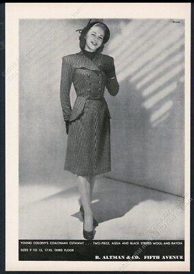 1947 Young Colony Coachman cutaway dress woman Dirone photo B Altman print ad](Womens Colonial Clothing)