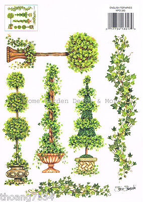 Topiary Urn Ivy Vine Paint Transfer Rub On Instant Stencil Applique