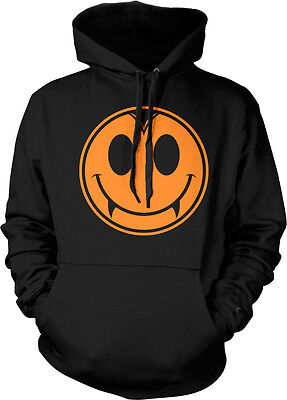 Halloween Vampire Smiley Face Fangs Teeth Horror Scary Ghost Hoodie Pullover](Scary Halloween Smiley Faces)