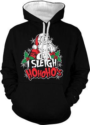 I Sleigh Ho Ho Hos Santa Claus Pimp Slay Christmas Do Two Tone Hoodie -