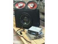 Stereo sub subwoofer speakers sony pioneer amp