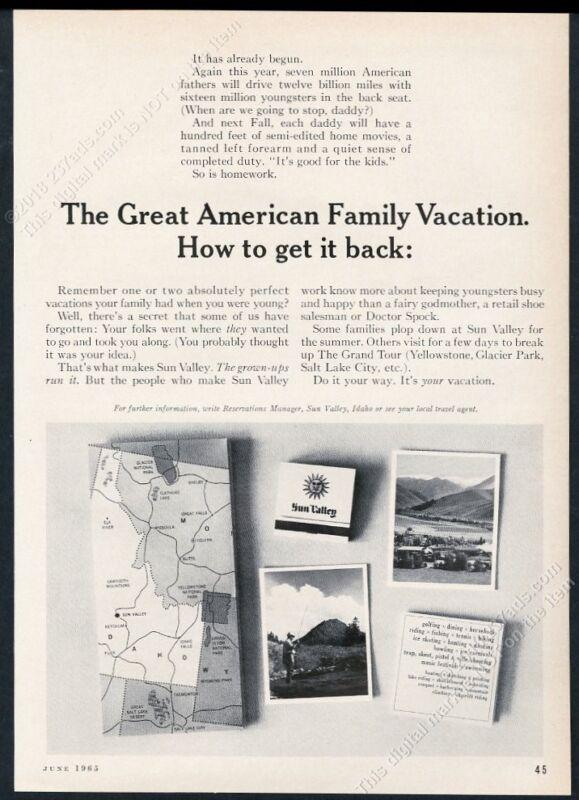1965 Sun Valley ski area mountains fisherman fishing photo vintage print ad