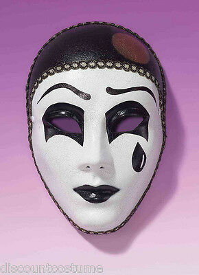 PIERROT MASK BLACK AND WHITE CLOWN MIME TEAR ADULT HALLOWEEN COSTUME ACCESSORY  - Pierrot Masks