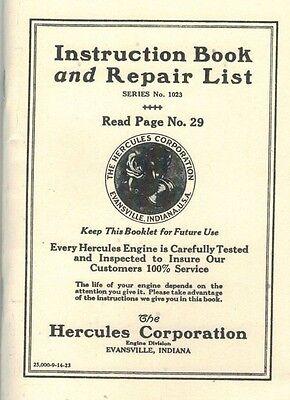 Hercules Instruction & Repair Book Manual Gas Engine Motor Evansville Flywheel