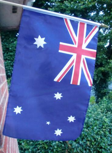 "AUSTRALIA HAND WAVING FLAG Large 18"" x 12"" with 24"" wooden pole AUSTRALIAN FLAGS"