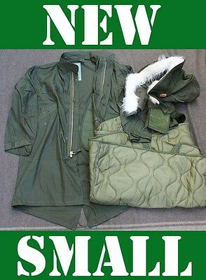 NEW SMALL US MILITARY FISHTAIL PARKA JACKET ARMY M65 EXTREME COLD GENUINE OD NOS, used for sale  Shipping to Canada