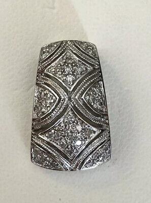 925 Sterling Silver Genuine Natural White Diamond Ornate Star Slide Pendant 3.4g Diamond Sterling Silver Slide