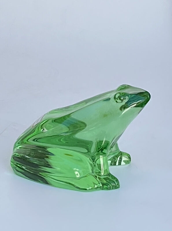 BACCARAT GREEN CRYSTAL FROG - TOAD - PAPERWEIGHT FRANCE