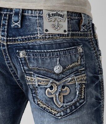 New Mens Rock Revival Slim Bootcut Jeans Scion 28 29 30 31 32 33 34 36
