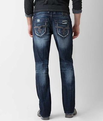 Mens Rock Revival Jeans Straight Leg Black Rhinestone Luckett Relaxed -