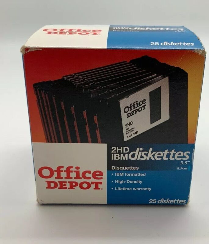 "25 New Office Depot 2 HD Floppy Diskettes 3.5"" 1.44MB High Density IBM Unopened"