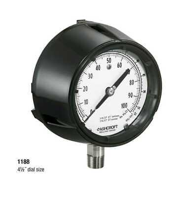 Ashcroft 45-1188-ss-04l-100iw Low-pressure Ss Bellows Gauge 0 To 100 Wc