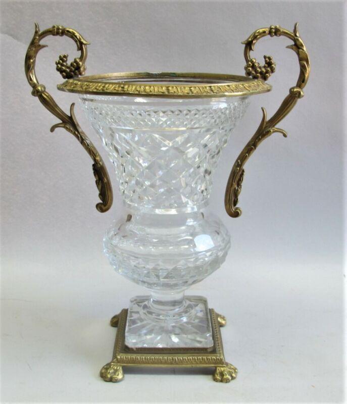 "Very Fine 13"" GILT BRONZE & CUT CRYSTAL Mounted Vase  c. 1930 - 1950  vintage"
