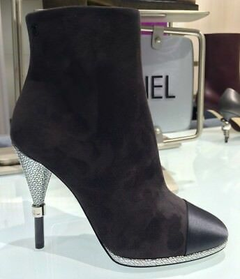 2016 CHANEL GRAY SUEDE LEATHER SATIN CAPTOE BOOTIES SILVER HEEL SIZE 37
