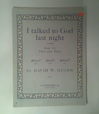 1940 I Talked To God Last Night Sheet Music David W. Guion