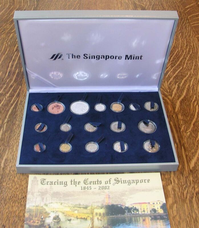 """SINGAPORE  2002  """"TRACING THE CENTS OF SINGAPORE"""" COINS, IN ORIGINAL BOX, W/COA!"""