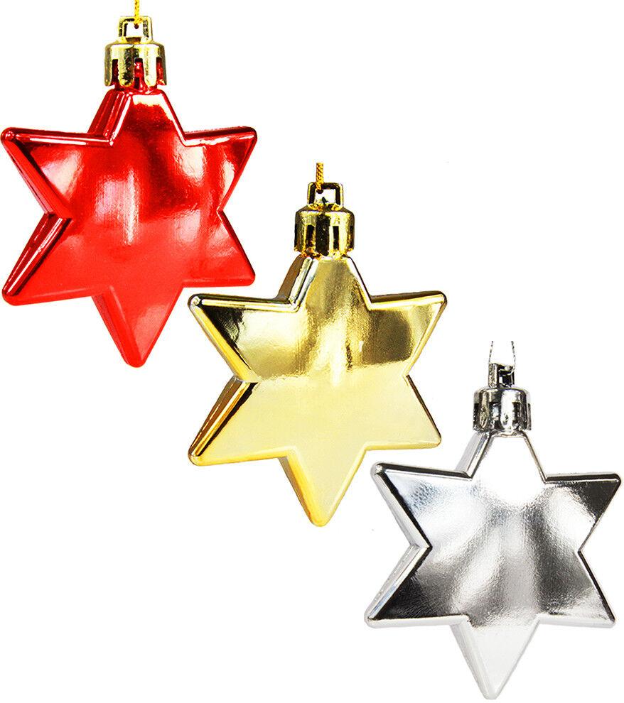 10 Stück Weihnachtskugeln Christbaumkugeln Christbaumschmuck Stern