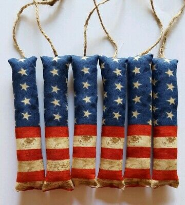 Primitive Americana Flag Firecrackers Bowl Filler/ornies/accents 6 pcs