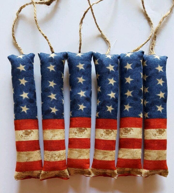 Patriotic Americana Firecrackers Bowl Filler/ornies/accents 6 pcs