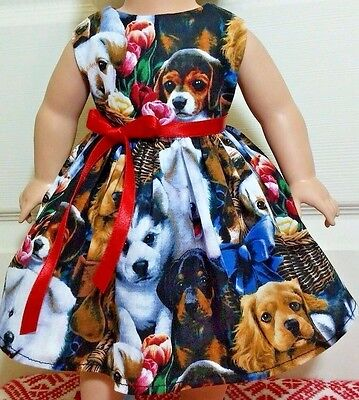 """Doll Clothes-Handmade-American Girl Dolls-Fits18""""-Lovely Puppies Dress."""